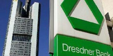 """** ARCHIV ** Das Logo der Dresdner Bank ist am 31. Aug. 2008 in Frankfurt am Main vor dem Gebaeude der Commerzbank zu sehen. Die Millionenbezuege fuer die neun Ex-Vorstandsmitglieder der hochdefizitaeren Dresdner Bank rufen bei der Regierungskoalition scharfe Kritik hervor. """"Ich habe kein Verstaendnis fuer masslose Forderungen von Managern, deren Unternehmen ohne die Hilfe der Steuerzahler heute keine Gehaelter und schon gar keine Boni mehr zahlen koennten"""", sagte Bundeswirtschaftsminister Karl-Theodor zu Guttenberg (CSU) der """"Bild""""-Zeitung, Samstagausgabe 28. Maerz 2009. (AP Photo/Michael Probst) ** zu APD6684 ** ** FILE ** The logo of Dresdner Bank is seen next to the building of the Commerzbank in Frankfurt, central Germany, Sunday, Aug. 31, 2008. (AP Photo/Michael Probst)"""