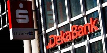 Frankfurt, Germany - March 22, 2011: Logo and entrance of DekaBank. DekaBank is the central asset manager of the Sparkassen in Germany and was founded in 1956. DekaBank is one of the largest asset managers in Germany.