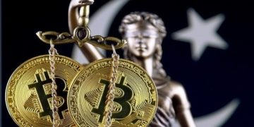 Symbol of law and justice, physical version of Bitcoin and Pakistan Flag. Prohibition of cryptocurrencies, regulations, restrictions or security, protection, privacy.