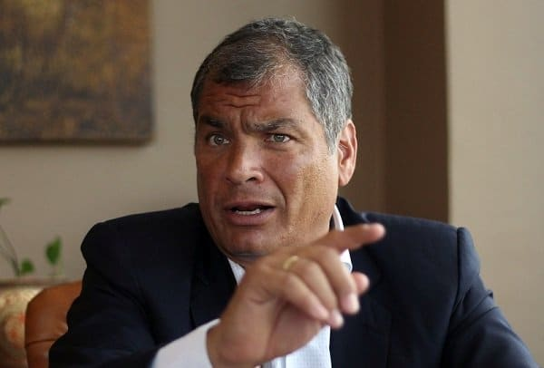 Ecuador's former President Rafael Correa talks to Reuters, in Quito, Ecuador January 30, 2018. Picture taken January 30, 2018. REUTERS/Daniel Tapia NO RESALES. NO ARCHIVES.