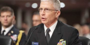 Commander of the US Southern Command, Admiral Craig Faller, testifies during a US Senate Armed Services Committee hearing on Capitol Hill in Washington, DC, February 7, 2019. (Photo by SAUL LOEB / AFP)
