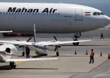 An Airbus A340 airplane of Mahan Air is seen at Simon Bolivar International Airport outside Caracas, Venezuela April 8, 2019. REUTERS/Carlos Garcia Rawlins