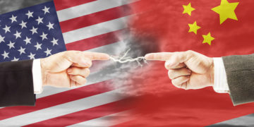 65258055 - tense relations between united states and china. concept of conflict and stress