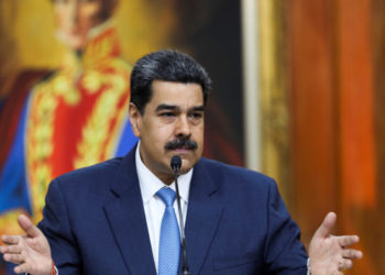 Venezuela's President Nicolas Maduro gestures as he speaks during a news conference at Miraflores Palace in Caracas, Venezuela February 14, 2020. REUTERS/Fausto Torrealba NO RESALES. NO ARCHIVES