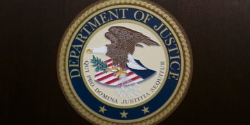 The Department of Justice seal. (Samira Bouaou/The Epoch Times)