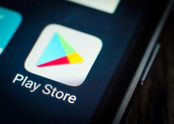 Kharkiv, Ukraine - 23 April, 2018: Google play store application icon on a smartphone screen