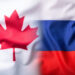 Mixed  flag of Russia and Canada.Russia flag and Canada flag